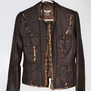 CACHE Brown Copper Shimmer Jacket Sz 4